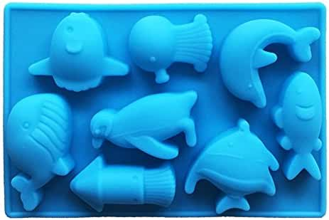 Witkey Ocean Animal Shape Non Stick Silicone Mold Fondant Chocolate Mold Candy Mold Baking Cookie Mould Soap Decorating Mold