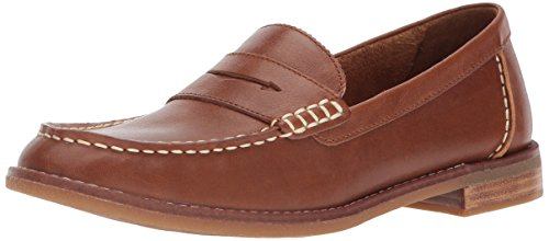 SPERRY Women's Seaport Penny Loafer, Tan, 7.5 Wide