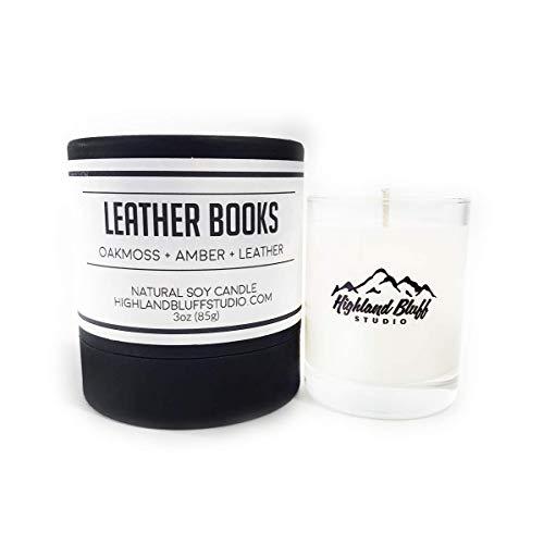 Leather Books - 3oz Soy Candle - Oakmoss, Amber, and Leather - Signature Series Mini