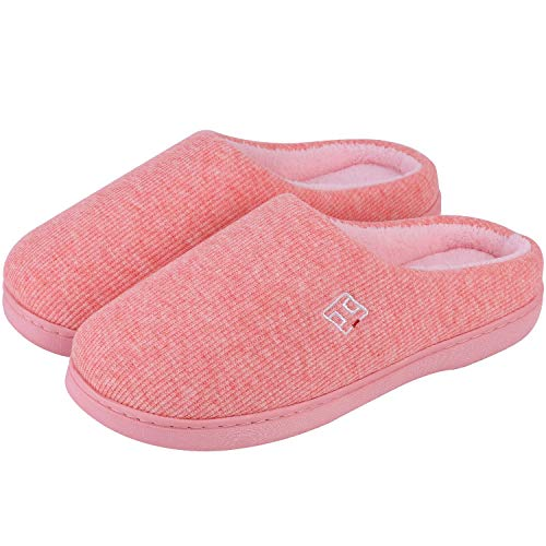 Men's and Women's Classic Memory Foam Plush House Slippers, Autumn Winter Breathable Indoor/Outdoor Shoes 36-37 (US Women's 5-6), Peachy Pink