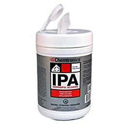 Chemtronics IPA Presaturated Isopropyl Alcohol Strong Industrial Business Cleaning Wipes SIP100P (1 Tub-100 Wipes)