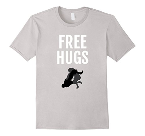 62791ea040 Mens Funny Free Hugs Humor Bjj, mma Funny Jiu Jitsu Shirt Large Silver