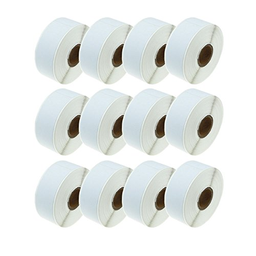 12-Roll Compatible Dymo LW 30252 White Address Mailing Labels: 28 x 89 mm (1-1/8