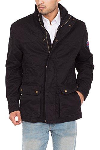 Jacket Field Coat (Mens Winter Army Combat Military Field Coat Jacket- Black, L)