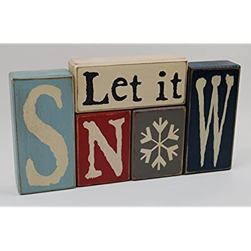 primitive country wood stacking sign blocks seasonal christmas winter snowman decor let it snow snowman - Christmas Wooden Signs