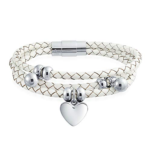 (Bling Jewelry Dangling Heart Charms White Triple Strand Braided Leather Bracelet for Women for Girlfriend Stainless Steel)