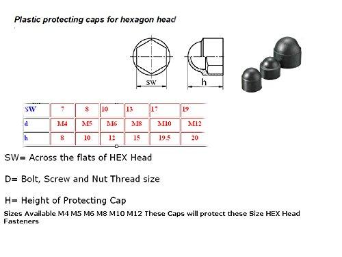 M12 WHITE 12mm 19mm SPANNER SIZE 12 PACK NUT /& BOLT PLASTIC//NYLON COVER CAP