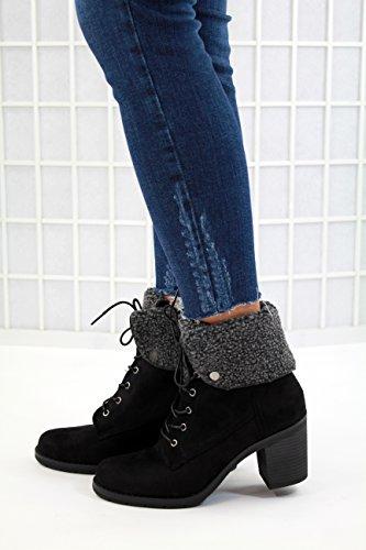 De Noir Aligné Bottines Dames Femmes Mi Chaussures Dentelle Sport bloc Les Fourrure Nouvelles Talon fqxPOztRw