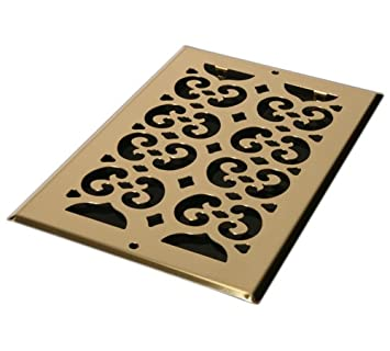 Antique Brass 6-Inch by 10-Inch Decor Grates SP610R-A Scroll Plated