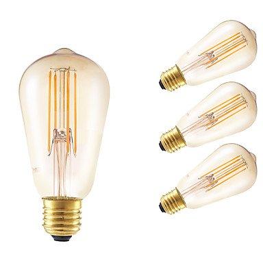 ywxlight 4 W E26/E27 bombillas de filamento LED ST58 4 COB 350 lm ámbar graduable/decorativa AC 100 - 240 V 4 piezas: Amazon.es: Iluminación