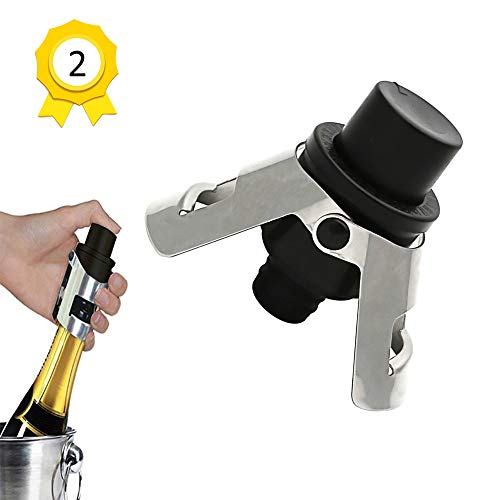 (Champagne Sealer Stopper,2 Pack Stainless Steel Wine Bottle Plug Sealer Set with a Built-In Pressure Pump,Keeps The Fizz In Your Bubbles)