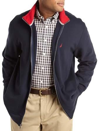 Nautica Big & Tall Zip-Front Sweater (5XTall, Navy)