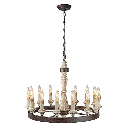 LALUZ 15-Light French Country Chandeliers Wood Chandelier Lighting
