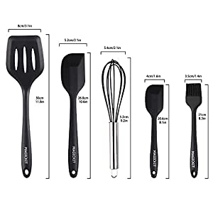 Kitchen Utensils, Standard,included 9 inch stainless&silicone food tong,ladle,turner,whisk,spaghetti server,slotted spoon,big spatula,mini spatula,brush,salad spoon(10 Piece) - Black