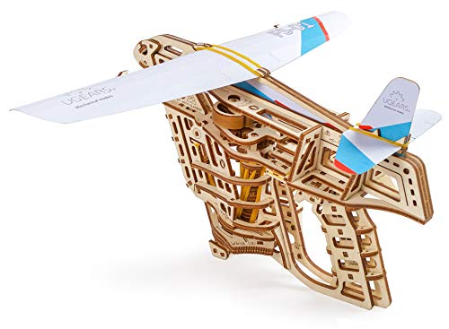 Ugears Flight Starter, Paper Airplane, Portable Hand Catapult, Mechanical Wooden 3D Model