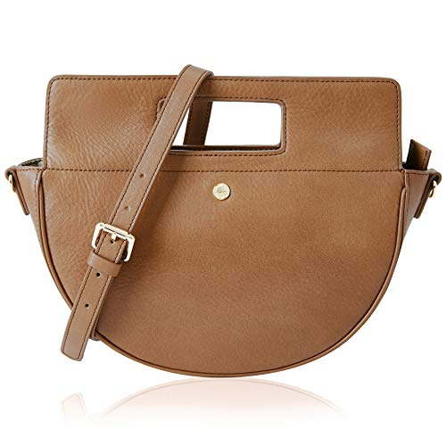 The Lovely Tote Co. Women's Genuine Leather Half Moon Crossbody Bag Cowhide Satchel Handbag,One,Brown