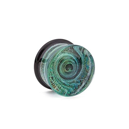 Green Glass Foil Plug - 0g to 1â?? - Price Per 1-10mm ~ 00g (4 Glass Price 1)