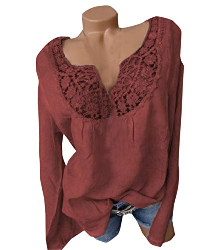 Vin Longues JackenLOVE Tee Femme Shirts Haut Rouge Fashion pissure Blouse Printemps Tops T et Chemisiers Automne Shirts Manches Dentelle Casual w8qUnCwA