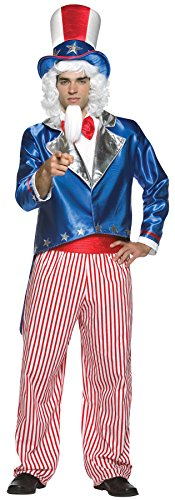 UHC Men's Uncle Sam July 4th Independence Patriotic Outfit Holiday Costume, OS (Uncle Sam Plus Size Costumes)