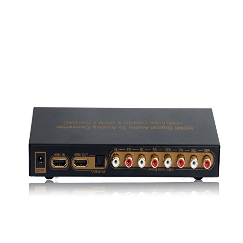 SKSL HDMI Digital Audio Converter Support 3 Modes for Audio Output Blue-Ray Player LPCM 4k Video,LPCM 7.1CH HDMI Audio Converter
