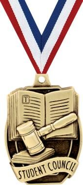 Crown Awards Academic Medals - 2'' Gold Student Council Medals 20 Pack