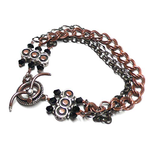 Three Strand Mixed Metals Chain Bracelet Copper Sterling Silver Brass Gunmetal 7-3/8