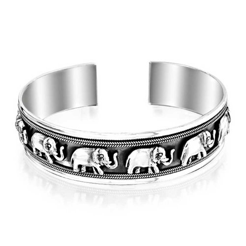 Bling Jewelry Sterling Silver Lucky Elephant Antique Style Cuff Bracelet