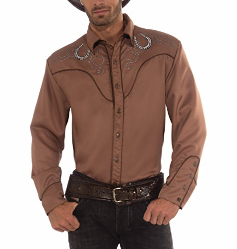 Forum Novelties Men's Deluxe Adult Costume Western Shirt, Brown, One Size