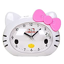 Lemonkid Cartoon Hello Kitty Alarm Clock Non-Sticking Loud Alarm Analog with Night Light for Girls Kids Pink