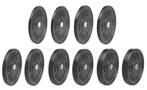 IRON COMPANY Premium Black Virgin Rubber Olympic Bumper Plate 260 lb. Set for Crossfit Workouts and Olympic Weightlifting - IWF Specifications by Ironcompany.com
