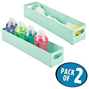 mDesign Storage Organizer Bin for Kitchen Cabinet, Pantry, Refrigerator, Countertop - BPA Free & Food Safe - Kids/Toddlers Bottles, Sippy Cups, Food Pouches, Baby Food Jars - Pack of 2, Mint Green