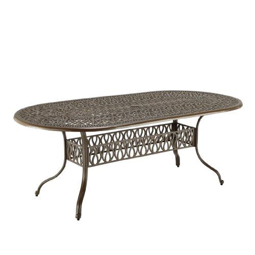 Floral Blossom Taupe Oval Dining Table by