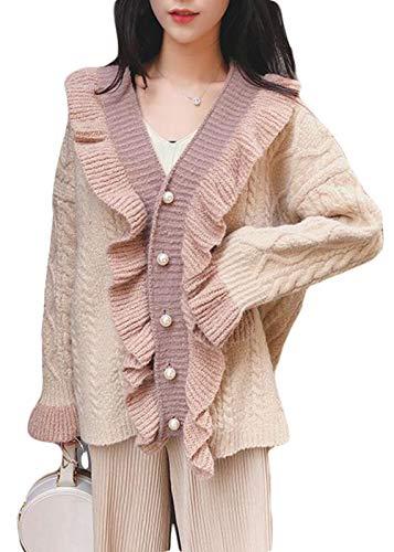 BeiBang(バイバン) ニット カーディガン 長袖 フリル かわいい カーディガン ゆる Vネック ボタン ニットアウター セーター 韓国風 秋 冬 コート
