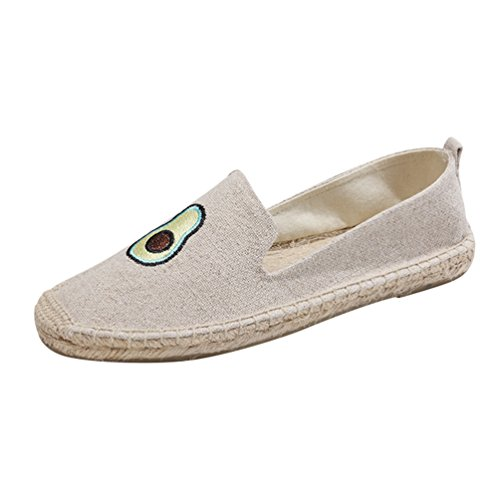 Jitong Espadrille Loafers for Women Low-top Comfortable Flat Moccasins Breathable Walking Slippers Beige #2 Xhw8T8a