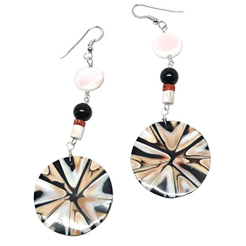 Shell Inlay Statement Pierced Earrings Coral Black Pink Sterling ()