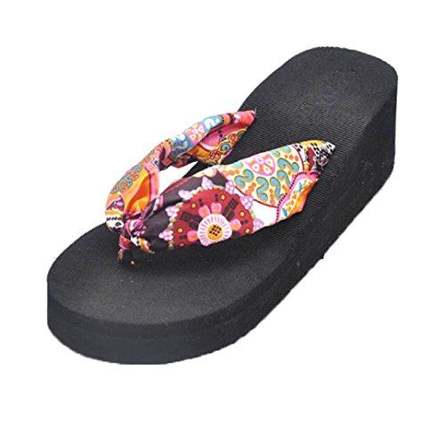 Bohemian Noir Fulltime® Plage Chaussons Wedges Tongs Platform Femmes Sandal 65fW5Uq