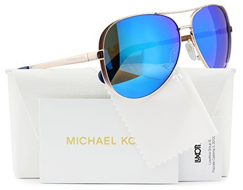 Michael Kors MK5004 Chelsea Aviator Sunglasses Rose Gold w/Blue Mirror (1003/25) MK 5004 100325 59mm - Kors Michael Blue Glasses