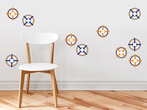 Soft Decal Set - Bulls Eye Target Wall Decals - Set of 10 Soft Bullet Darts Targets - Kids Bedroom, Living Room Art Decor, Removable Fabric Wall Stickers