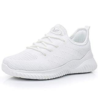 Womens Memory Foam Walking Shoes Lightweight Fashion Sports Gym Jogging Slip on Tennis Running Sneakers White 10 B(M) US