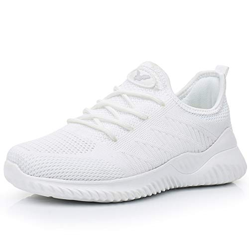 Womens Memory Foam Walking Shoes Lightweight Fashion Sports Gym Jogging Slip on Tennis Running Sneakers White 5.5 B(M) -
