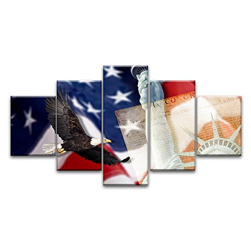 Retro USA American Flag Military Canvas Prints Wall Art Independence Day Vintage Thin Blue Line Home Decor Pictures for Living Room 5 Panel Large Poster Painting Framed Ready to Hang (60