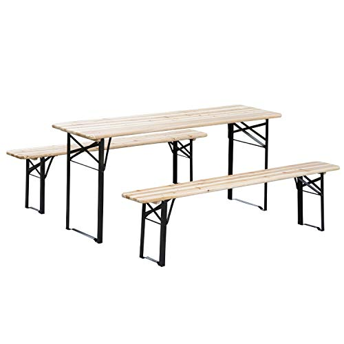 Outsunny 6' Wooden Folding Picnic Table Bench Set Outdoor (Heavy Duty Benches Picnic)
