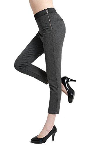 BodiLove Women's Ankle Length Performance Dress Pants With Side Zipper Charcoal (Capri Pants Slacks)