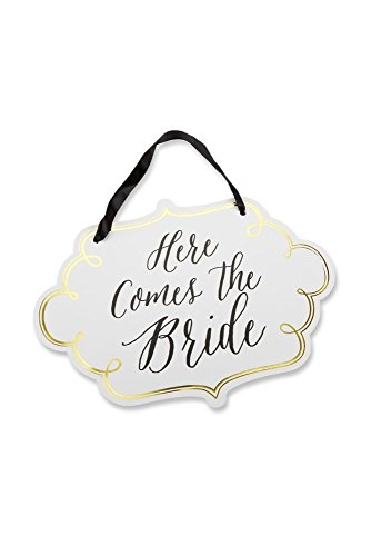 Kate Aspen Classic Gold Foil Here Comes the Bride Sign