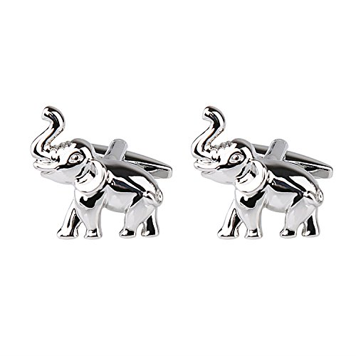Gold Elephant Cufflinks - Alizeal Silver Elephant Patterned Men's Dinner Party Cuff links