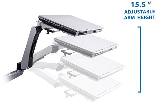 Mount-It! MI-75911 Dual Arm Full Motion Adjustable Height, Articulating, Tilting, Rotating, Desk Table Mount with Vented Laptop and Mouse Mount and Holder Stand for Laptops, Tablets, and Notebooks with LCD, LED, and PC Monitors Mount, Grommet, Silver by Mount-It! (Image #1)