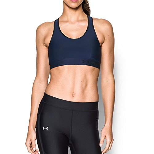 [Under Armour Women's Armour Mid Sports Bra, Midnight Navy/Black, Small] (Navy Activewear)
