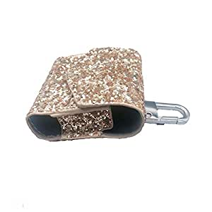 For AirPods Case Sequins Leather Cover Accessories with Hook Keychain & Earbuds Strap Full Protective Case-GOLD COLOR