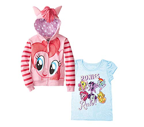 My Little Pony Hoodie T-Shirt - 2 Pack of Hasbro MLP Girls Hoodie and T-Shirt - Rainbow Dash, Twilight Sparkle, Pinky Pie (Pink/LightBlue, 4T)]()