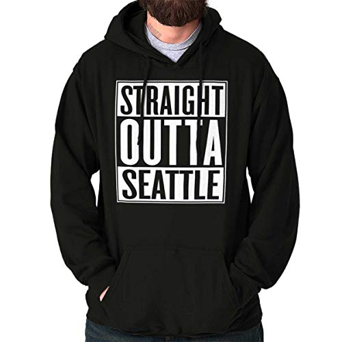 (Brisco Brands Straight Outta Seattle, WA City Movie Gift Hoodie Sweatshirt Black)